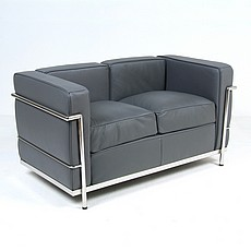 Le Corbusier Petite LC2 Loveseat in Gray Leather