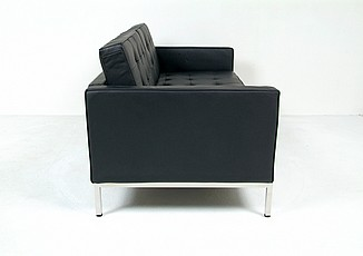 Florence Knoll Loveseat Reproduction - Black Leather