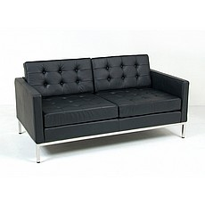Florence Knoll Sofa Replica in Black Leather