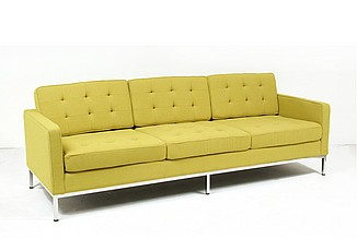 Florence Knoll Loveseat Reproduction - Chartreuse Green