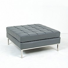 Florence Knoll Sauare Ottoman Reproduction - Black Leather