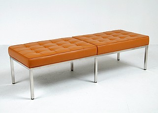 Florence Knoll Bench Reproduction - Golden Tan Leather